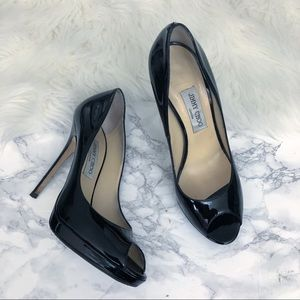Jimmy Choo Quiet Patent Leather Peep Toe Pump